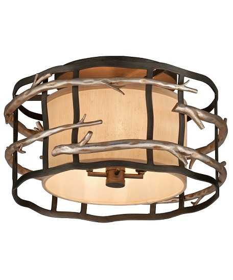 Four Light Graphite And Silver Drum Shade Flush Mount