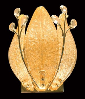 "Blooming Light Design 2-Light 13"" Gold Wall Sconce with European Crystals and Etched Glass Petals SKU* 10632"