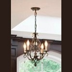 "Chateau Collection 4-Light 22"" Mocha Bronze Mini Chandelier with Crystal F1904/4MBZ"