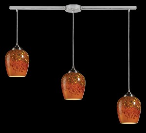 Claudio Collection Satin Nickel 3-Light Pendant with Autumn Glass 10145/3L-AUT