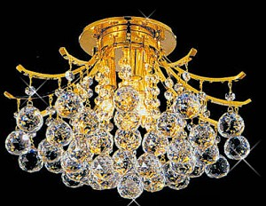 "Contour Design 6-Light 19"" Gold or Chrome Ceiling Flush Mount with European or Swarovski Crystal  SKU# 10527"