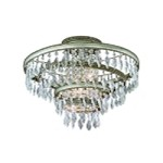 "Diva Collection 3-Light 18"" Silver and Gold Leaf Semi-Flush Mount with Crystal Drops 132-33"