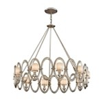 "Embrace Collection 10-Light 39"" Satin Silver Leaf Chandelier with White Pearl Glass 134-410"