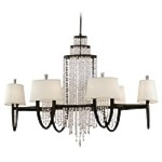 "Viceroy Collection 12-Light 46"" Royal Bronze Crystal Chandelier with White Linen Shades White Linen Hardback Shades 130-012"