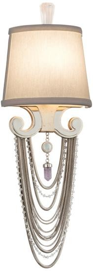"Flirt Collection 1-Light 7"" Modern Silver Leaf Wall Sconce with Linen Shades, Jewelry Chain and Amethyst Rock Crystal 157-11"