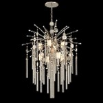 "Bliss Collection 9-Light 48"" Topaz Leaf Pendant Chandelier with White Pearl Glass, Brazilian Rock Crystal, and Tassels 162-49"