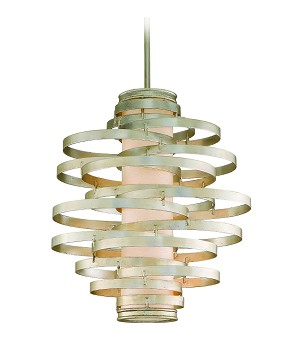 "Vertigo Collection 3-Light 23"" Modern Silver Pendant with Citrine Ice Diffuser 128-43"