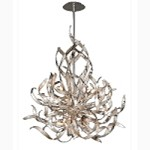 "Graffiti Collection 6-Light 35"" Silver Leaf and Polished Stainless Pendant with Smoked Crystal Diffuser 154-46"