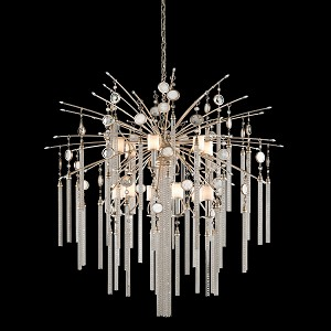 "Bliss Collection 13-Light 59"" Topaz Leaf Pendant Chandelier with White Pearl Glass, Brazilian Rock Crystal, and Tassels 162-713"