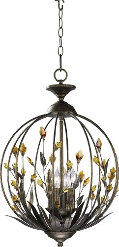"Amber 4-Light 21"" Autumn Dusk Iron Pendant with Amber Crystal Accents 01193"