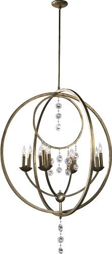 "Emilia 16-Light 47"" Silver Leaf Iron Chandelier with Glass 02618"