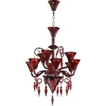 "Andretti 9-Light 35"" Red Murano Style Glass Chandelier 03045"