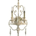 "Davinci 2-Light 22"" Persian White Wrought Iron Wall Sconce with Wood Details 04161"