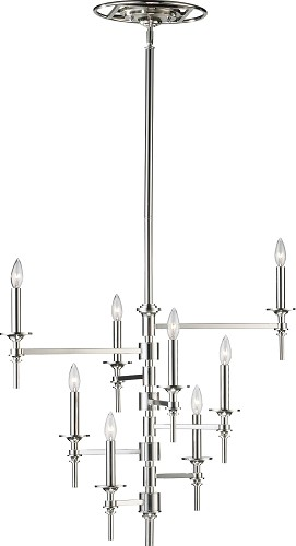 "Omega 8-Light 30"" Polished Nickel Wrought Iron Chandelier 04182"