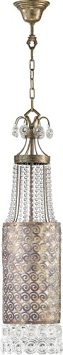 "Les Jardins 1-Light 32"" Byzantine Oxide Iron and Glass Pendant 04195"