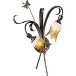 "Papilion Collection 2-Light 22"" Venetian Iron Wall Sconce with Amber Frost Clear Glass 5145-2-93"