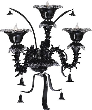 "Venetian Noir 3-Light 25"" Black Murano Style Glass Wall Sconce 5235-3-15"