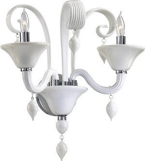 "Treviso 2-Light 16"" White Murano Style Glass Wall Sconce with Chrome Accents 5285-2-14"