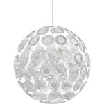 "Dandelion Collection 10-Light 29"" Chrome Iron Pendant with Clear & White Mottled Glass 6361-10-14"