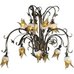 "Papilion Collection 12-Light 41"" Venetian Iron Chandelier with Amber Frost Clear Glass 6406-12-93"
