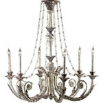 "Abelle 6-Light 35"" Parisian White Wrought Iron Chandelier 6491-6-28"