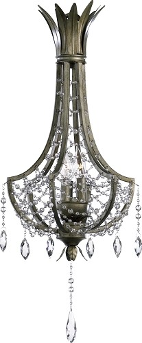 "Luciana 3-Light 24"" St.Regis Bronze Wrought Iron Pendant with Crystals 6492-3-33"
