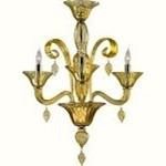 "Treviso 3-Light 26"" Amber Murano Style Glass Mini Chandelier with Chrome Accents 6493-3-14"