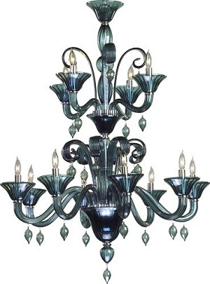 "Treviso 12-Light 42"" Indigo Murano Style Glass Chandelier with Chrome Accents 6495-12-14"