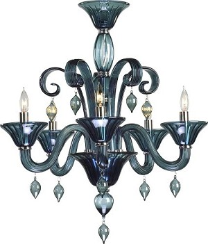 "Treviso 5-Light 26"" Indigo Murano Style Glass Chandelier with Chrome Accents 6495-5-14"