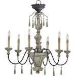 "Provence 6-Light 31"" Carriage House Wrought Iron and Resin Chandeleir with Wood Accents 6513-6-43"