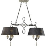 "Provence 6-Light 40"" Carriage House Wrought Iron and Resin Island Light with Wood Accents 6514-6-43"