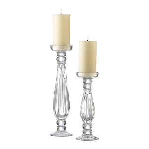 Large Clear Glass Candleholder 01262