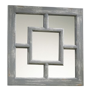 "Ashbury 17"" Square Distressed Gray Wall Mirror 04282"