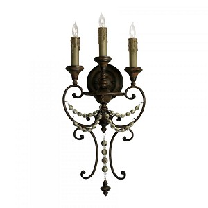 "Meriel 3-Light 26"" Antique Sienna Wrought Iron Wall Sconce with Wood Beads 03009"