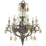 "Dorato Collection 6-Light 29"" Autum Dusk Chandelier with Gold Leaf Crystal 01023"