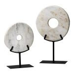 Large White Disk On Stand 02309