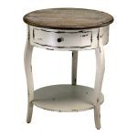 Abelard Distressed White Wood Side Table 02469