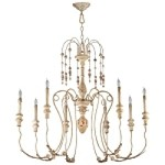 "Maison Collection 8-Light 41"" Persian White Wrought Iron Chandelier with Wood 04638"