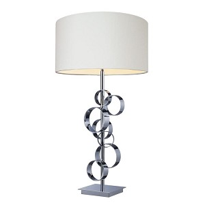 "Avon Collection 1-Light 30"" Chrome Table Lamp with White Shade D1475"