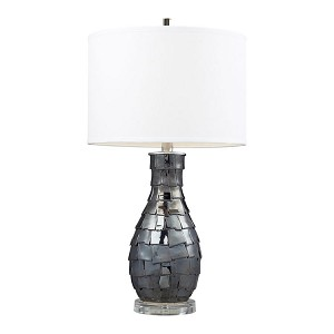 "Cooper Collection 1-Light 25"" Navy Pearl Table Lamp with Pure White Shade D2263"