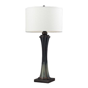 "Langholm Collection 1-Light 33"" Landscape / Painted Color Table Lamp with Pure White Shade D2274"