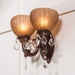 "Monaco Design 2-Light 15"" Aged Bronze Wall Sconce with Tuscan Glass and Crystal Accents SKU# 11148"