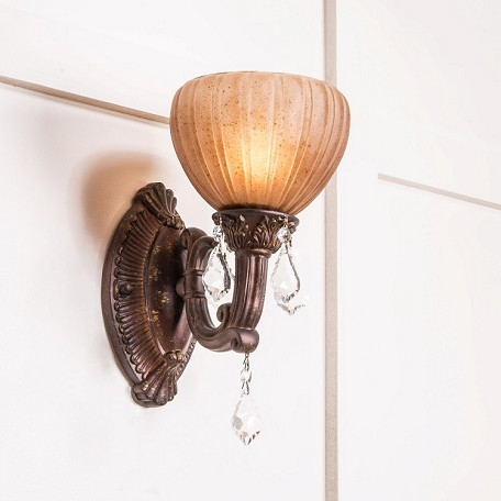 "Monaco Design 1-Light 7"" Aged Bronze Wall Sconce with Tuscan Color Glass and Crystal Accents SKU# 11147"