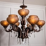 "Monaco Design 9-Light 32"" Aged Bronze Chandelier with Tuscan Color Glass and Crystal Accents SKU# 11150"