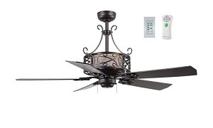 "Del Rey Collection 54"" Espresso Ceiling Fan with Espresso & Classic Walnut Blades E-DER54ESP5CR"