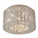 "Inca Collection 7-Light 15"" Polished Chrome Flush Mount with Steel Web Shade and Crystal Accents E21300-10PC"
