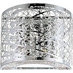 "Inca Collection 1-Light 7"" Polished Chrome Wall Sconce with Steel Web Shade and Crystal Accents E21302-10PC"