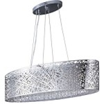 "Inca Collection 9-Light 32"" Polished Chrome Oval Pendant with Steel Web Shade and Crystal Accents E21310-10PC"