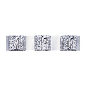 "Inca Collection 3-Light 24"" Polished Chrome Bathroom Vanity Fixture with Steel Web Shades and Crystal Accents E21312-10PC"