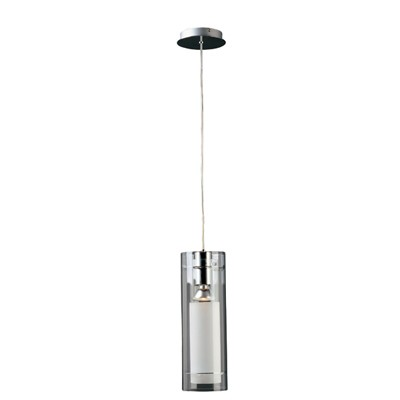 "Frost Series 1-Light 18"" Polished Chrome Mini Pendant with White and Clear Glass E22000-10"